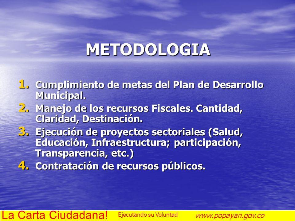 METODOLOGIA 1. Cumplimiento de metas del Plan de Desarrollo Municipal. 2. Manejo de los recursos Fiscales. Cantidad, Claridad, Destinación. 3. Ejecuci