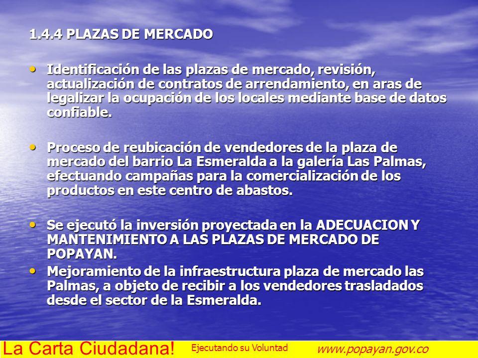 1.4.4 PLAZAS DE MERCADO Identificación de las plazas de mercado, revisión, actualización de contratos de arrendamiento, en aras de legalizar la ocupac