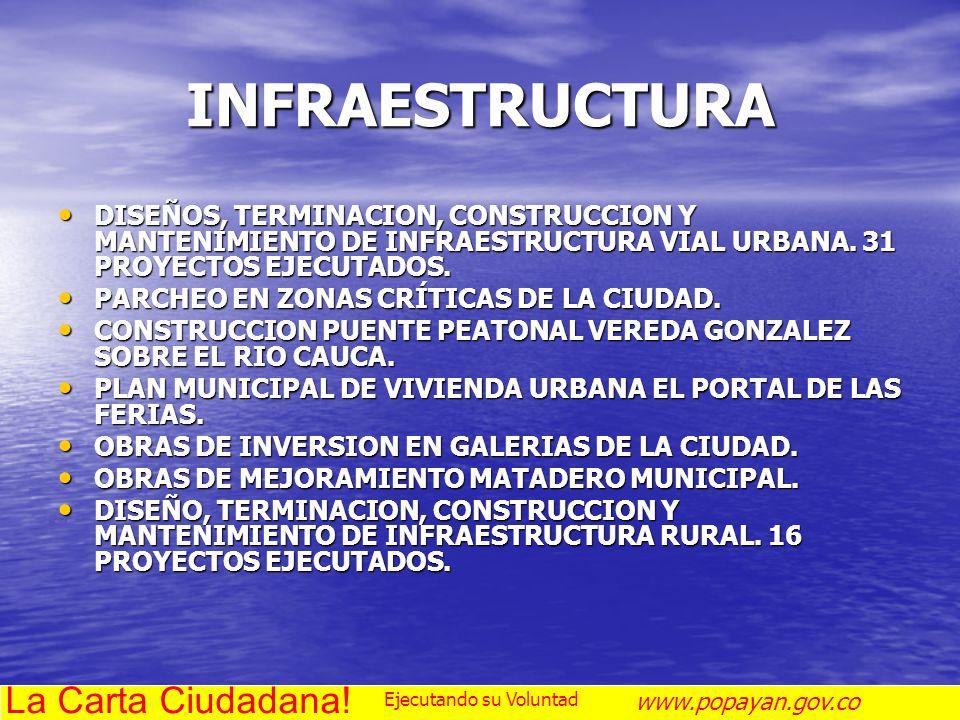 INFRAESTRUCTURA DISEÑOS, TERMINACION, CONSTRUCCION Y MANTENIMIENTO DE INFRAESTRUCTURA VIAL URBANA. 31 PROYECTOS EJECUTADOS. DISEÑOS, TERMINACION, CONS