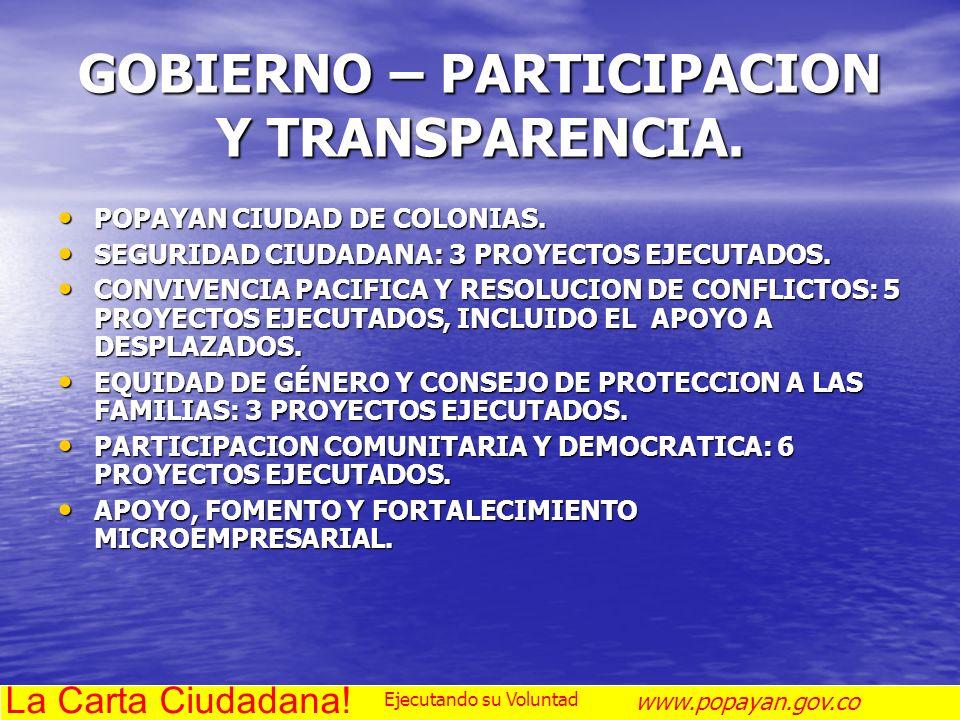 GOBIERNO – PARTICIPACION Y TRANSPARENCIA. POPAYAN CIUDAD DE COLONIAS. POPAYAN CIUDAD DE COLONIAS. SEGURIDAD CIUDADANA: 3 PROYECTOS EJECUTADOS. SEGURID