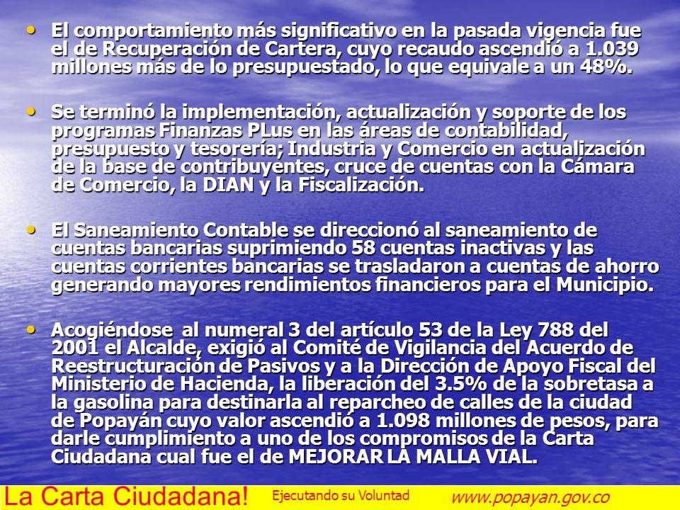 3. EJECUCIÓN DE PROYECTOS SECTORIALES La Carta Ciudadana! www.popayan.gov.co Ejecutando su Voluntad