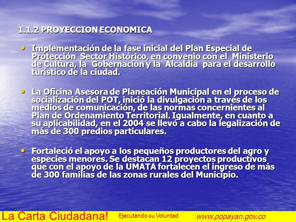 1.1.2 PROYECCION ECONOMICA Implementación de la fase inicial del Plan Especial de Protección Sector Histórico, en convenio con el Ministerio de Cultur