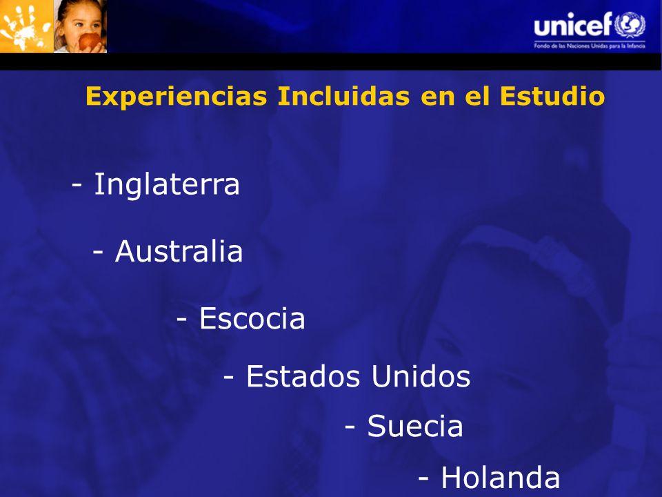 Experiencias Incluidas en el Estudio - Inglaterra - Australia - Escocia - Estados Unidos - Suecia - Holanda