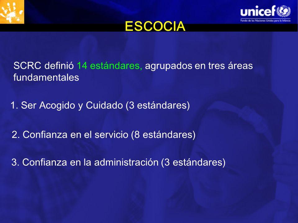 ESCOCIA SCRC definió 14 estándares, agrupados en tres áreas fundamentales 1.