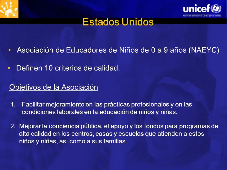 Estados Unidos Asociación de Educadores de Niños de 0 a 9 años (NAEYC) Definen 10 criterios de calidad.