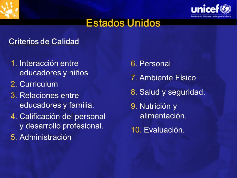 Estados Unidos Criterios de Calidad 1.Interacción entre educadores y niños 2.Curriculum 3.Relaciones entre educadores y familia.