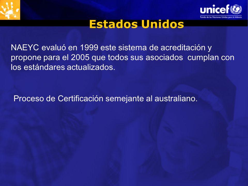 Estados Unidos NAEYC evaluó en 1999 este sistema de acreditación y propone para el 2005 que todos sus asociados cumplan con los estándares actualizados.