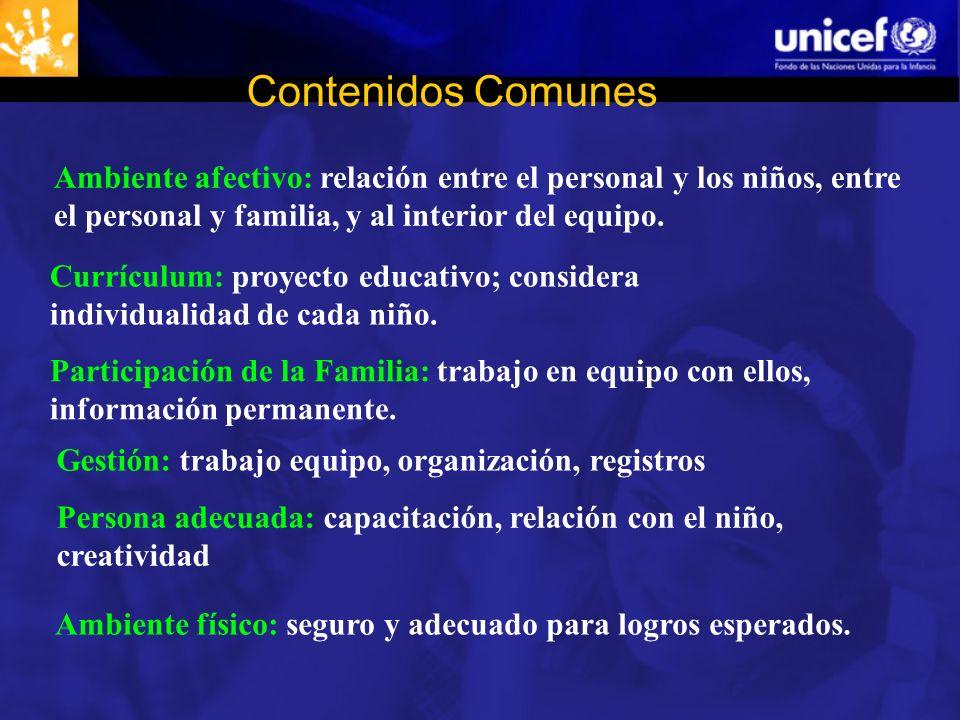 Contenidos Comunes Ambiente afectivo: relación entre el personal y los niños, entre el personal y familia, y al interior del equipo.