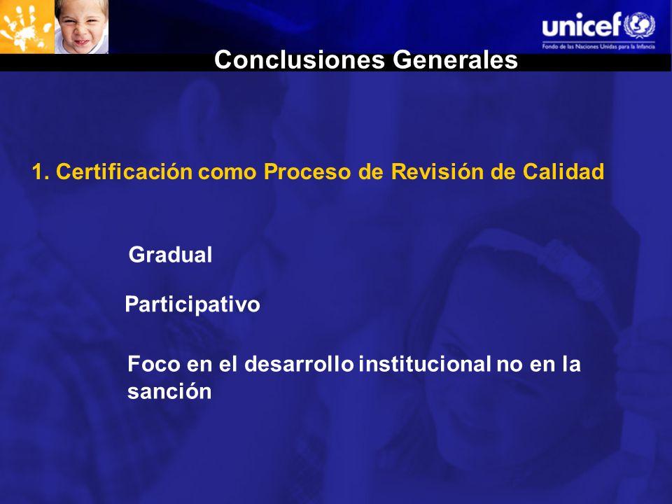 1. Certificación como Proceso de Revisión de Calidad Gradual Participativo Foco en el desarrollo institucional no en la sanción Conclusiones Generales
