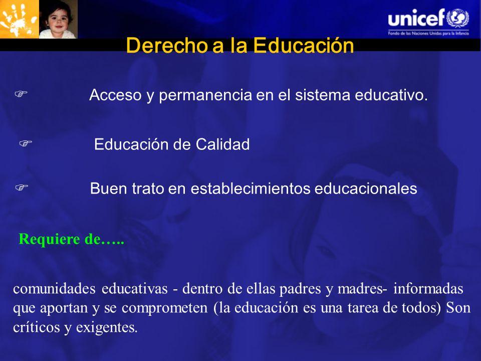 Derecho a la Educación comunidades educativas - dentro de ellas padres y madres- informadas que aportan y se comprometen (la educación es una tarea de todos) Son críticos y exigentes.