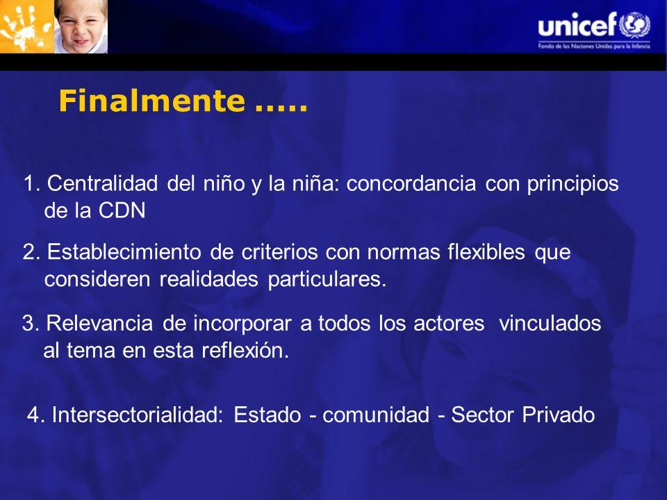 Finalmente.....1. Centralidad del niño y la niña: concordancia con principios de la CDN 2.