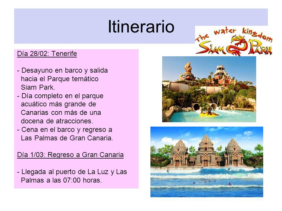 Itinerario Día 28/02: Tenerife - Desayuno en barco y salida hacia el Parque temático Siam Park. - Día completo en el parque acuático más grande de Can
