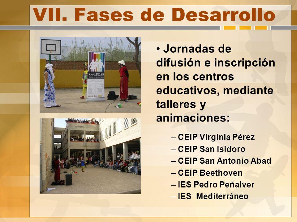VII. Fases de Desarrollo Jornadas de difusión e inscripción en los centros educativos, mediante talleres y animaciones: – CEIP Virginia Pérez – CEIP S