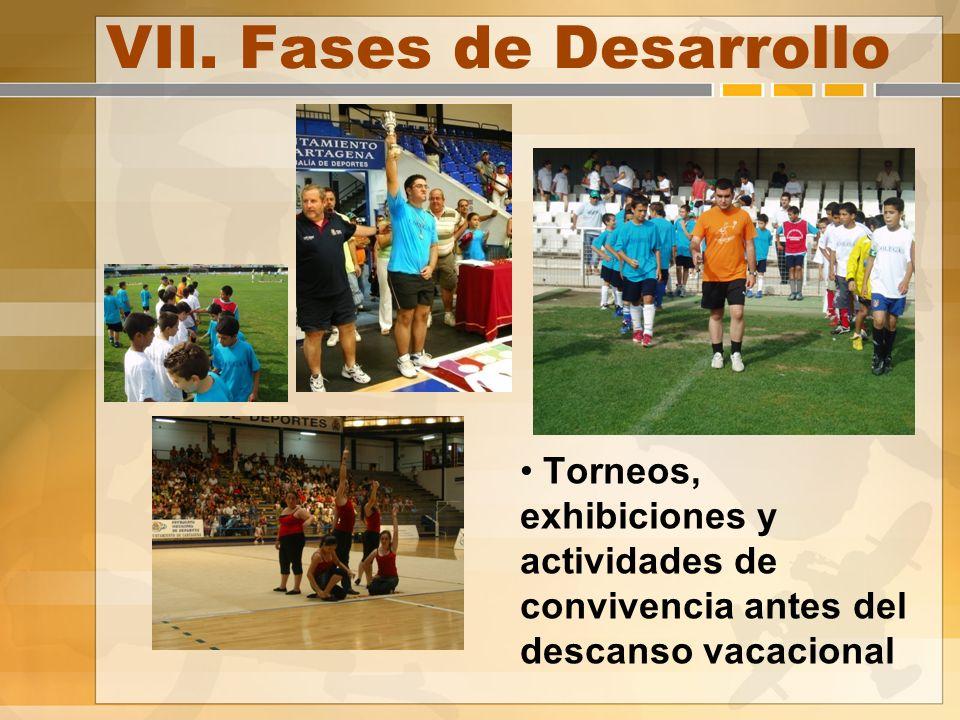 VII. Fases de Desarrollo Torneos, exhibiciones y actividades de convivencia antes del descanso vacacional