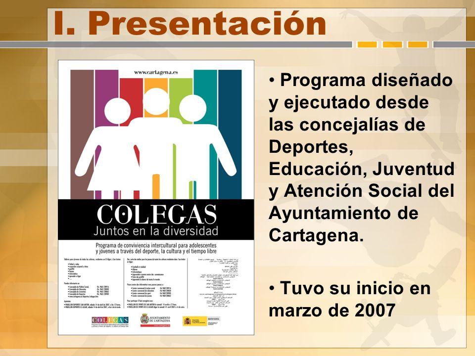I. Presentación Programa diseñado y ejecutado desde las concejalías de Deportes, Educación, Juventud y Atención Social del Ayuntamiento de Cartagena.
