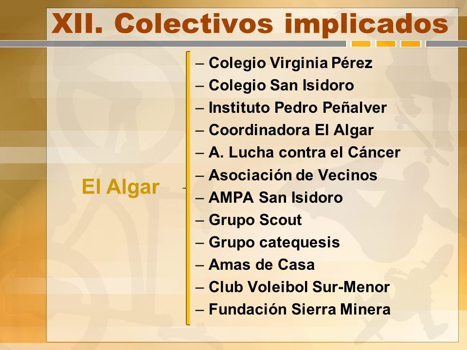 XII. Colectivos implicados – Colegio Virginia Pérez – Colegio San Isidoro – Instituto Pedro Peñalver – Coordinadora El Algar – A. Lucha contra el Cánc