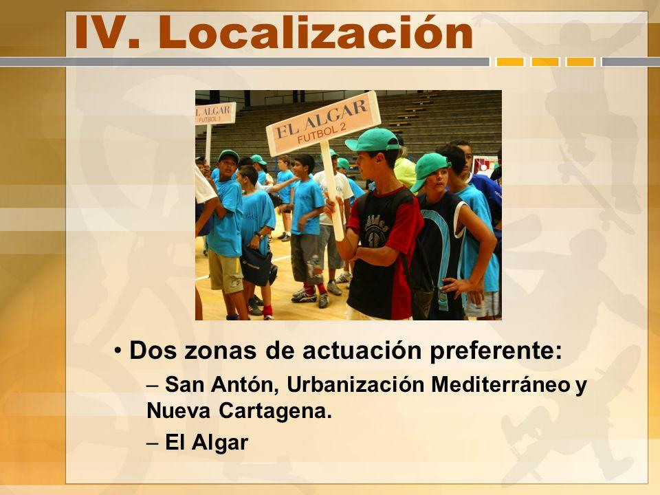 IV. Localización Dos zonas de actuación preferente: – San Antón, Urbanización Mediterráneo y Nueva Cartagena. – El Algar