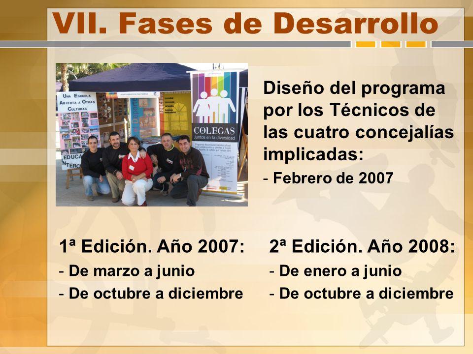 VII. Fases de Desarrollo Diseño del programa por los Técnicos de las cuatro concejalías implicadas: - Febrero de 2007 1ª Edición. Año 2007: - De marzo