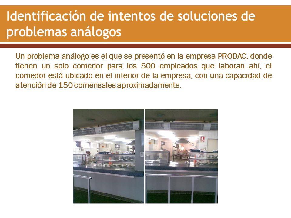 Un problema análogo es el que se presentó en la empresa PRODAC, donde tienen un solo comedor para los 500 empleados que laboran ahí, el comedor está u