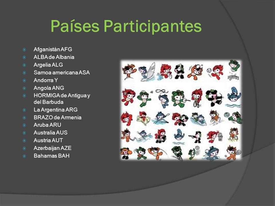 Países Participantes Afganistán AFG ALBA de Albania Argelia ALG Samoa americana ASA Andorra Y Angola ANG HORMIGA de Antigua y del Barbuda La Argentina