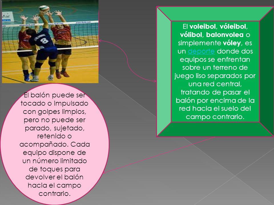 El voleibol, vóleibol, vólibol, balonvolea o simplemente vóley, es un deporte donde dos equipos se enfrentan sobre un terreno de juego liso separados