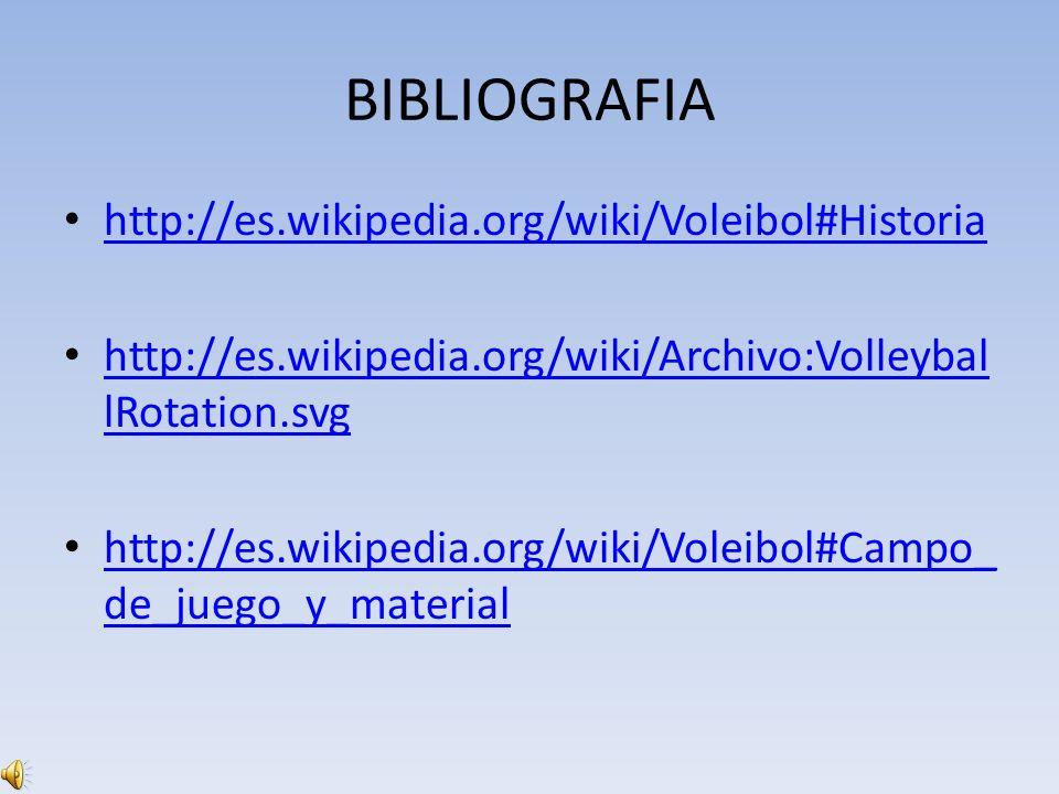 BIBLIOGRAFIA http://es.wikipedia.org/wiki/Voleibol#Historia http://es.wikipedia.org/wiki/Archivo:Volleybal lRotation.svg http://es.wikipedia.org/wiki/