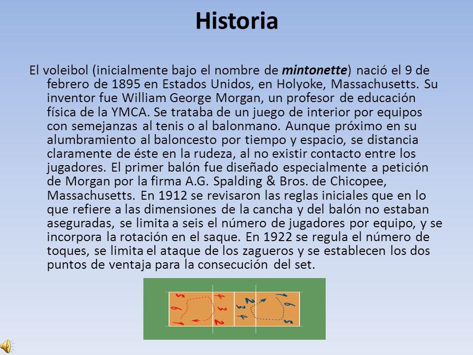 Historia El voleibol (inicialmente bajo el nombre de mintonette) nació el 9 de febrero de 1895 en Estados Unidos, en Holyoke, Massachusetts. Su invent