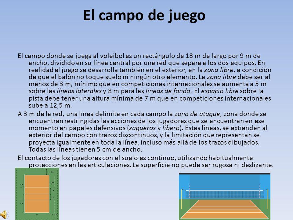 El campo de juego El campo donde se juega al voleibol es un rectángulo de 18 m de largo por 9 m de ancho, dividido en su línea central por una red que