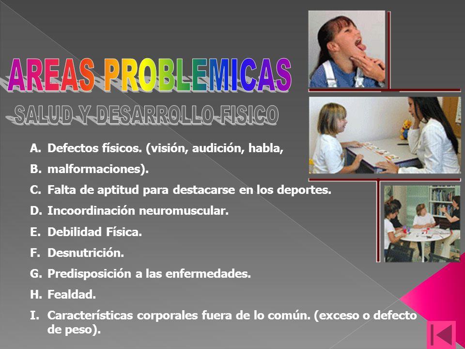 A.Defectos físicos.(visión, audición, habla, B.malformaciones).