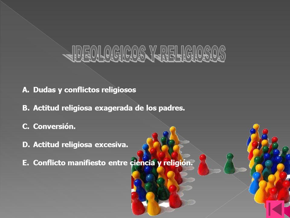 A.Dudas y conflictos religiosos B.Actitud religiosa exagerada de los padres.