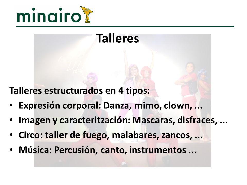 Talleres estructurados en 4 tipos: Expresión corporal: Danza, mimo, clown,... Imagen y caracteritzación: Mascaras, disfraces,... Circo: taller de fueg
