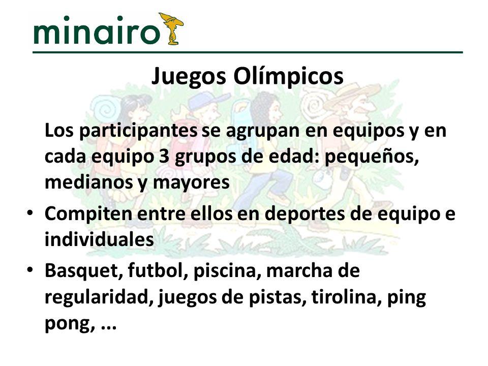 Los participantes se agrupan en equipos y en cada equipo 3 grupos de edad: pequeños, medianos y mayores Compiten entre ellos en deportes de equipo e i
