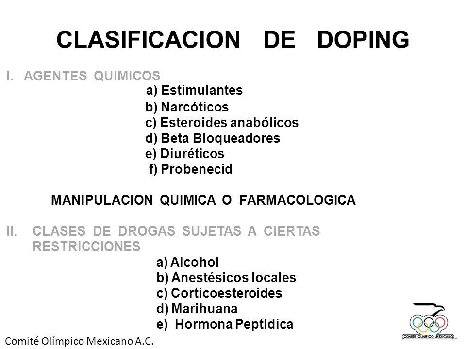 Comité Olímpico Mexicano A.C. CLASIFICACION DE DOPING I.AGENTES QUIMICOS a) Estimulantes b) Narcóticos c) Esteroides anabólicos d) Beta Bloqueadores e