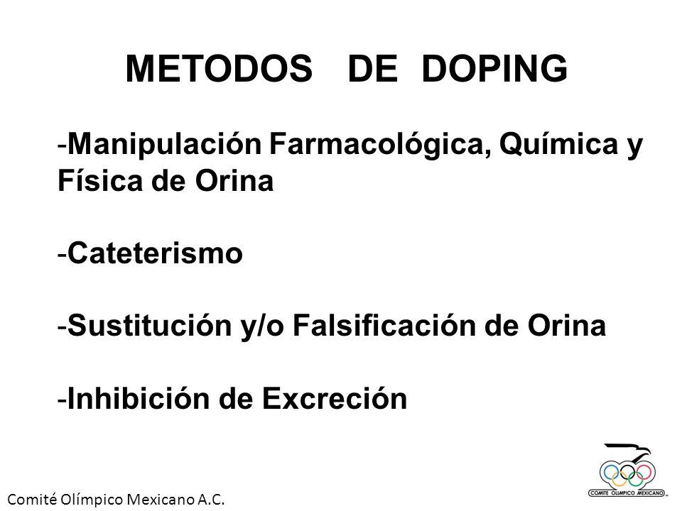 Comité Olímpico Mexicano A.C. -Manipulación Farmacológica, Química y Física de Orina -Cateterismo -Sustitución y/o Falsificación de Orina -Inhibición