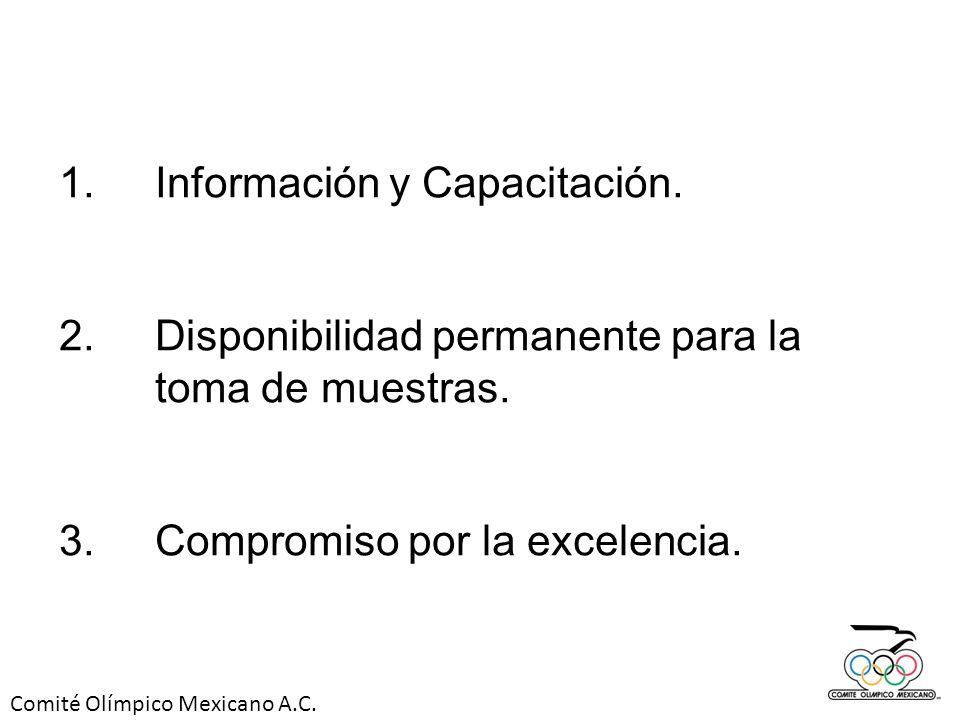 Comité Olímpico Mexicano A.C. 1.Información y Capacitación. 2.Disponibilidad permanente para la toma de muestras. 3. Compromiso por la excelencia.