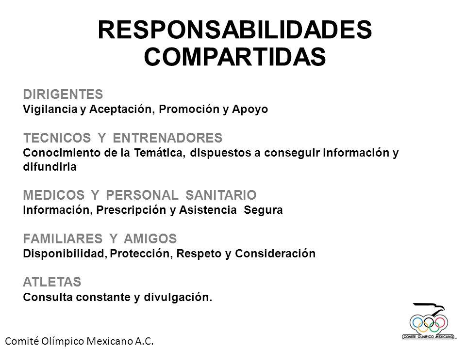 Comité Olímpico Mexicano A.C. RESPONSABILIDADES COMPARTIDAS DIRIGENTES Vigilancia y Aceptación, Promoción y Apoyo TECNICOS Y ENTRENADORES Conocimiento