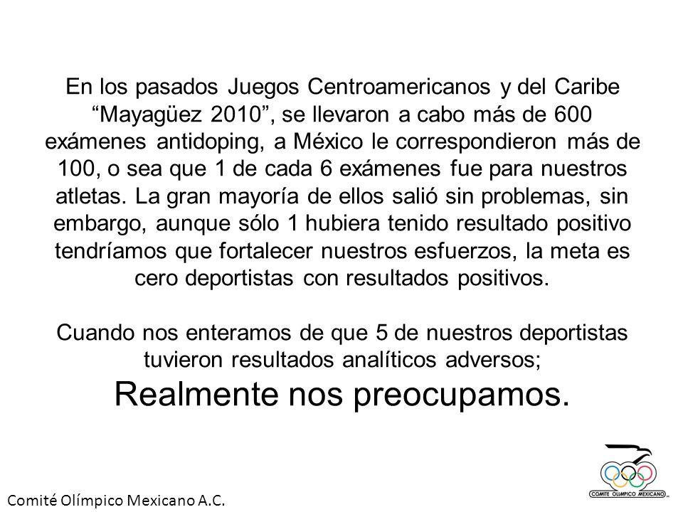 En los pasados Juegos Centroamericanos y del Caribe Mayagüez 2010, se llevaron a cabo más de 600 exámenes antidoping, a México le correspondieron más