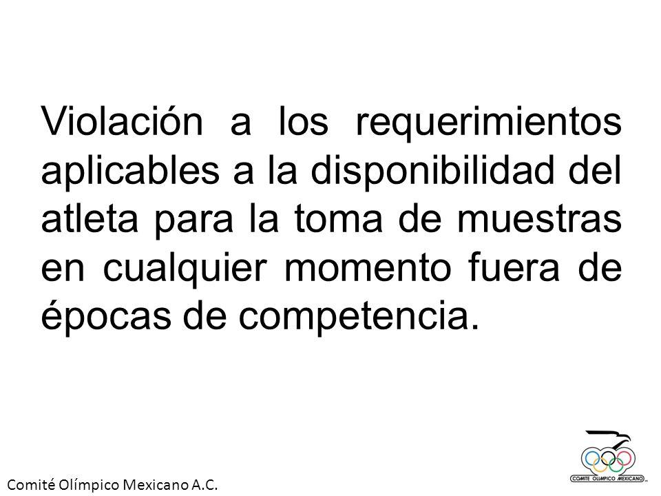 Comité Olímpico Mexicano A.C. Violación a los requerimientos aplicables a la disponibilidad del atleta para la toma de muestras en cualquier momento f