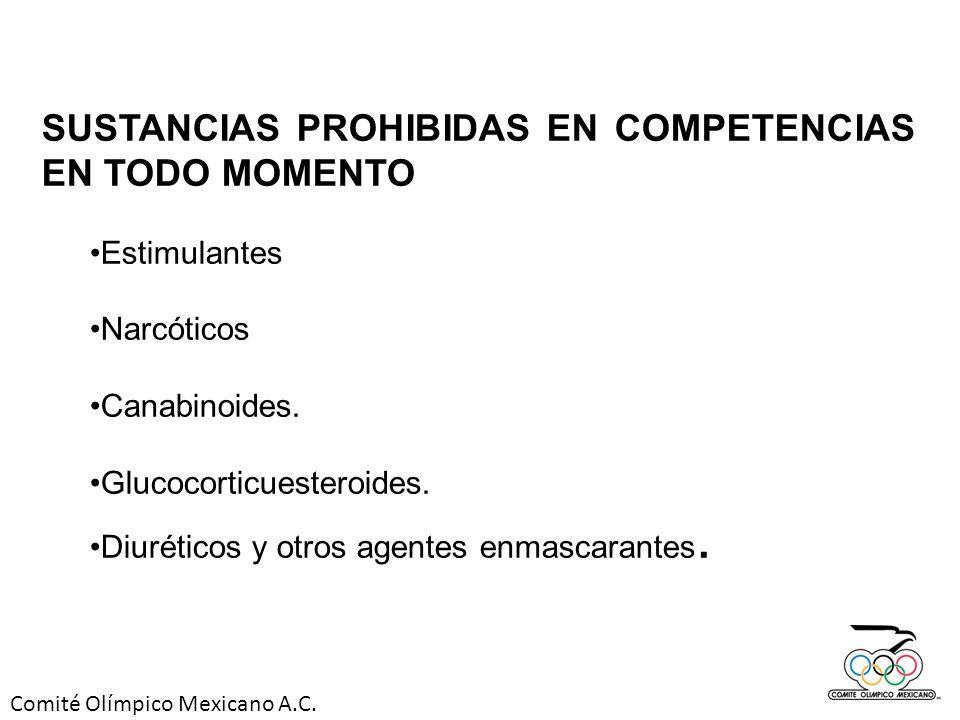 Comité Olímpico Mexicano A.C. SUSTANCIAS PROHIBIDAS EN COMPETENCIAS EN TODO MOMENTO Estimulantes Narcóticos Canabinoides. Glucocorticuesteroides. Diur