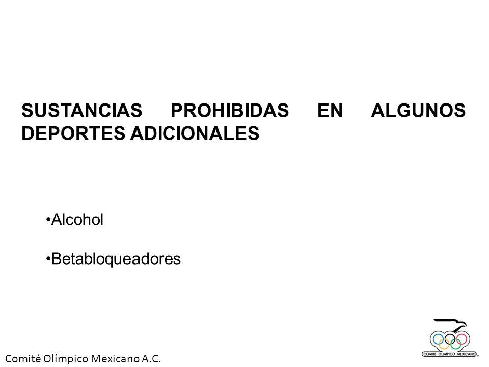 Comité Olímpico Mexicano A.C. SUSTANCIAS PROHIBIDAS EN ALGUNOS DEPORTES ADICIONALES Alcohol Betabloqueadores