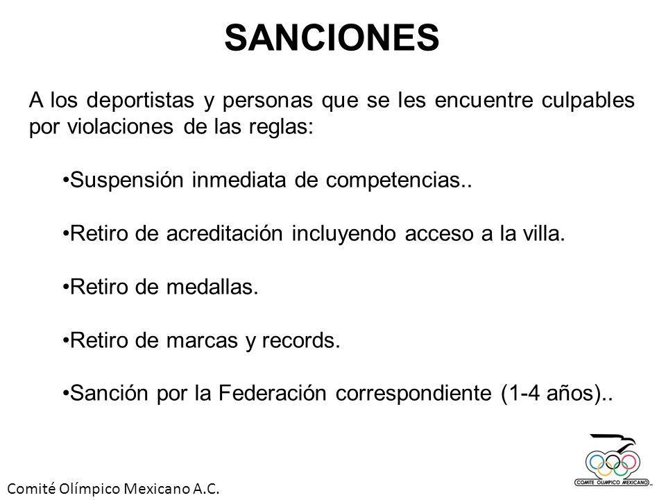 Comité Olímpico Mexicano A.C. SANCIONES A los deportistas y personas que se les encuentre culpables por violaciones de las reglas: Suspensión inmediat