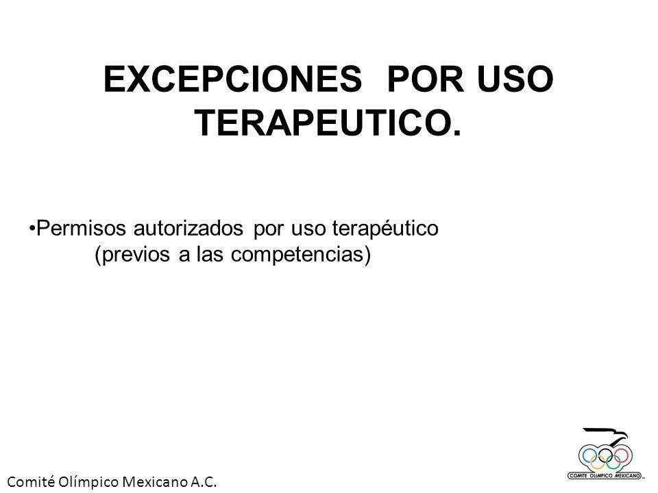 Comité Olímpico Mexicano A.C. EXCEPCIONES POR USO TERAPEUTICO. Permisos autorizados por uso terapéutico (previos a las competencias)