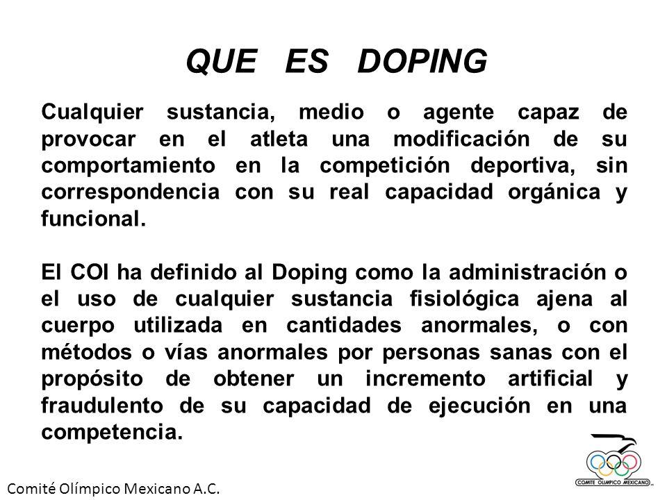 Comité Olímpico Mexicano A.C. Cualquier sustancia, medio o agente capaz de provocar en el atleta una modificación de su comportamiento en la competici