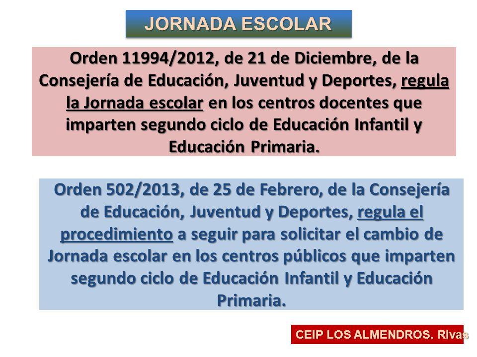 Orden 11994/2012, de 21 de Diciembre, (regula la Jornada escolar) CEIP LOS ALMENDROS.