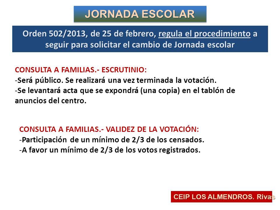 Orden 502/2013, de 25 de febrero, regula el procedimiento a seguir para solicitar el cambio de Jornada escolar CEIP LOS ALMENDROS.