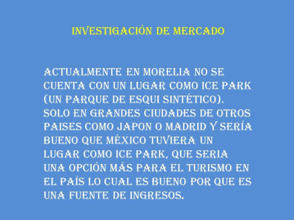 INVESTIGACIÓN DE MERCADO ACTUALMENTE EN MORELIA NO SE CUENTA CON UN LUGAR COMO ICE PARK (UN PARQUE DE ESQUI SINTÉTICO). SOLO EN GRANDES CIUDADES DE OT