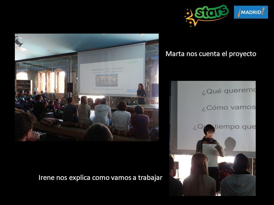 Marta nos cuenta el proyecto Irene nos explica como vamos a trabajar