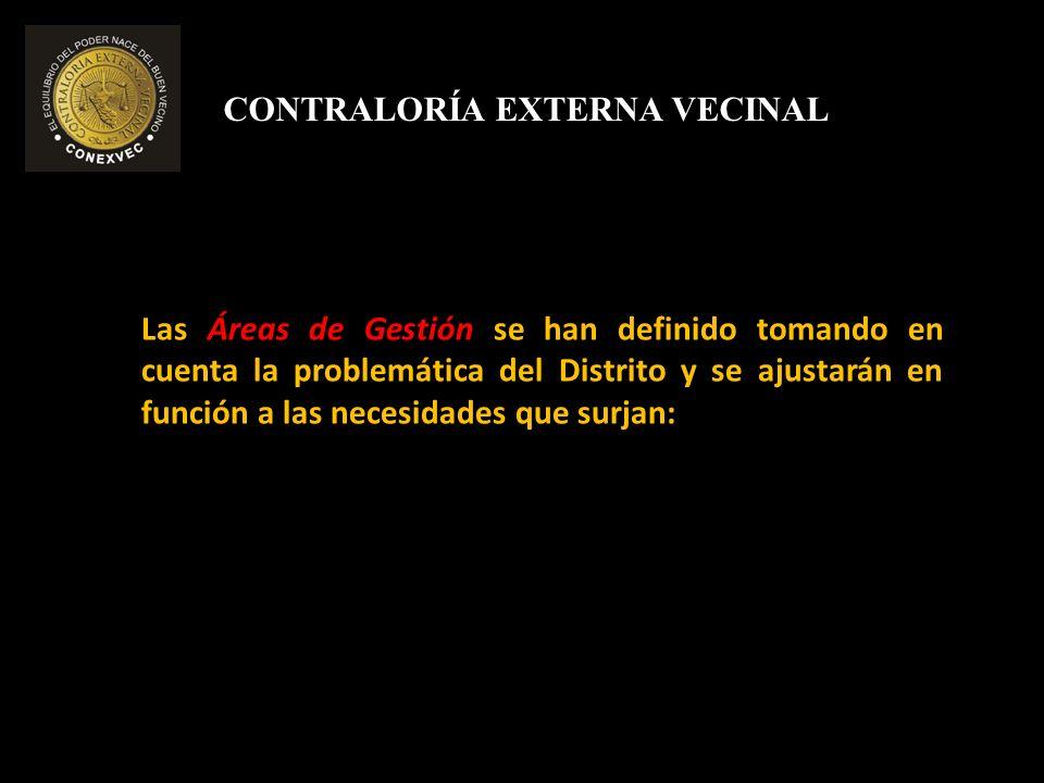 CONTRALORÍA EXTERNA VECINAL AREAS DE GESTIÓN