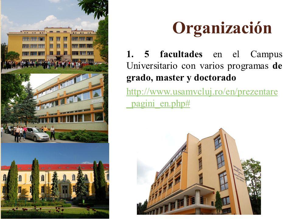 Organización 1. 5 facultades en el Campus Universitario con varios programas de grado, master y doctorado http://www.usamvcluj.ro/en/prezentare _pagin