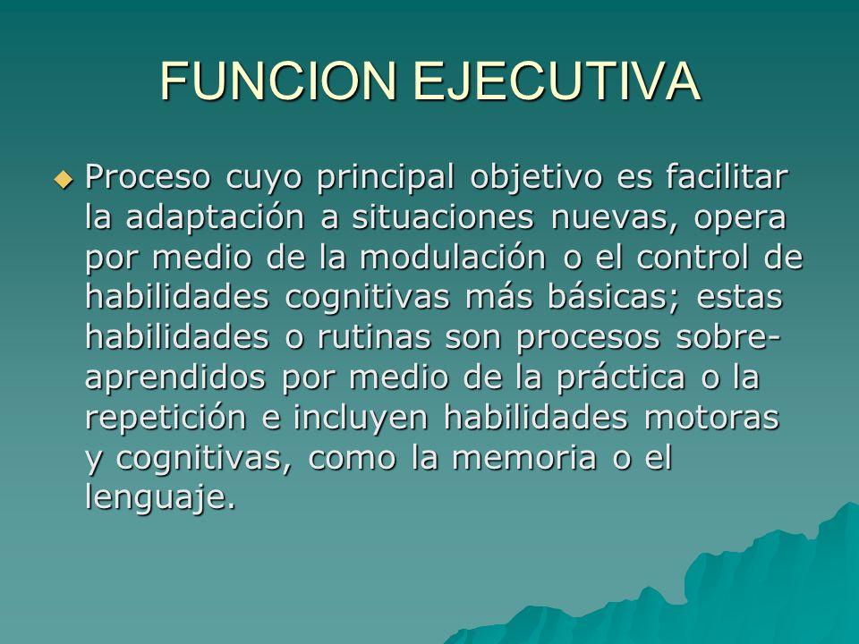 FUNCION EJECUTIVA Proceso cuyo principal objetivo es facilitar la adaptación a situaciones nuevas, opera por medio de la modulación o el control de ha